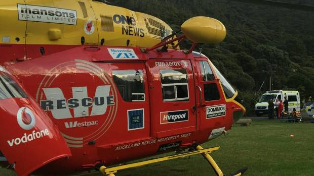 The Westpac rescue helicopter attended the injury to the man who had a nail gun mishap.