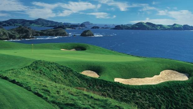 The par-three seventh at Kauri Cliffs, high above the Pacific Ocean.