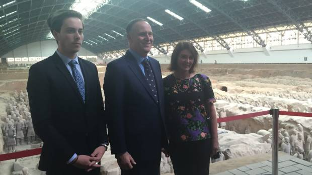 Prime Minister John Key (centre), his wife Bronagh and son Max were given a special tour of the Terracotta Warriors in ...