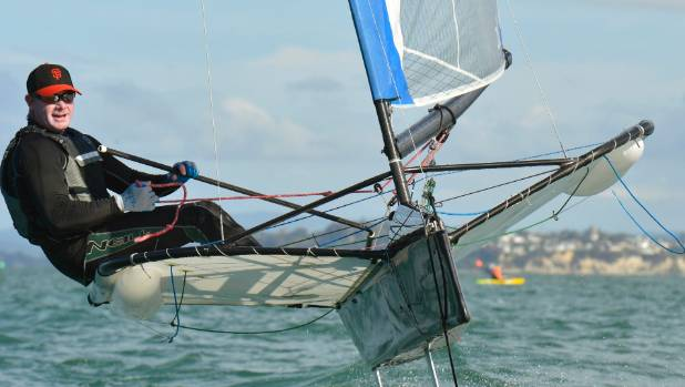 Kevin Hall sailing solo.