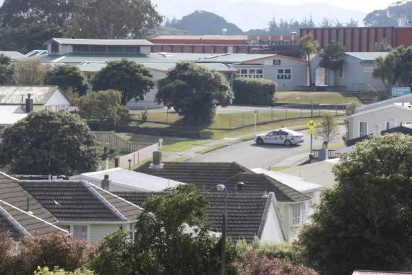Police officers and the armed offenders squad are hunting the person who shot and killed a police dog in Porirua.