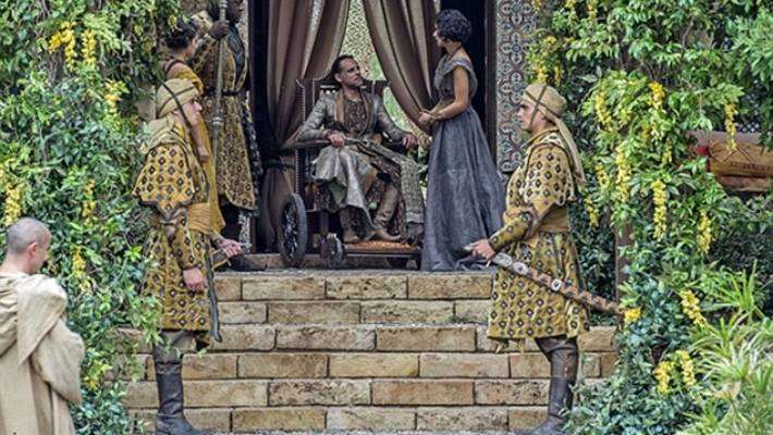 An encounter between Prince Doran of Dorne and his late brother's paramour Ellaria Sand.