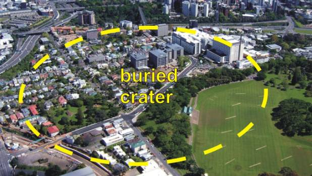 An aerial photograph showing where Grafton's buried volcanic crater lies.