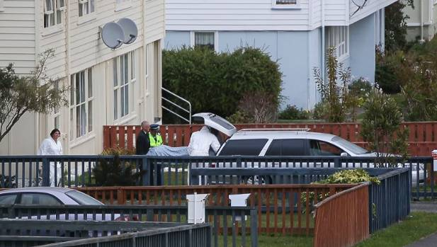 The hearse removing the gunman's body from Kokiri Cres, Porirua.