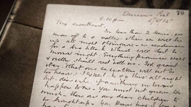 William Malone's letter to his wife Ida at Te Papa's Gallipoli: The Scale of Our War exhibition.