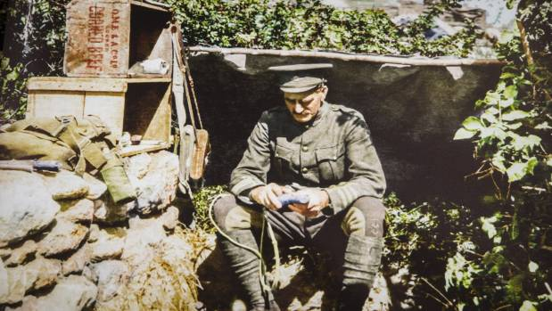William Malone in his bunker at the The Great War Exhibition in Wellington.