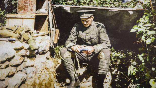 Lieutenant-Colonel William Malone in his bunker at the The Great War Exhibition in Wellington.