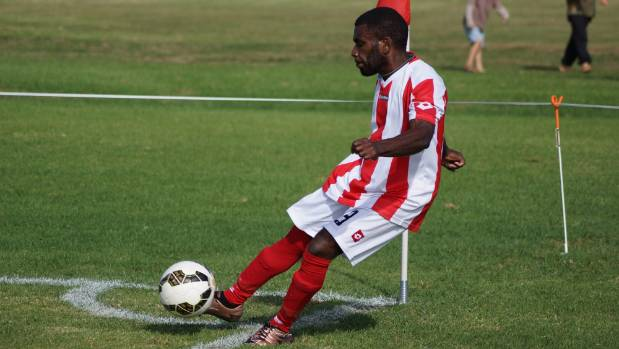 Shem James takes a corner for Northern Wairoa during their Chatham Cup debut.