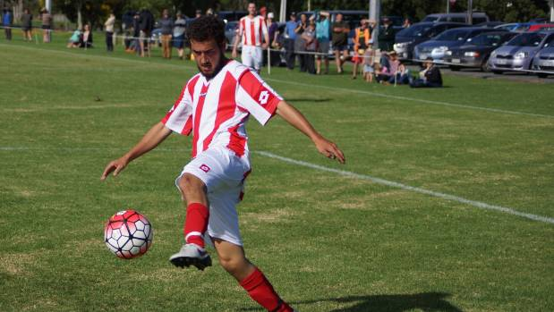 Armelino Santiago controls the ball for Northern Wairoa during their Chatham Cup debut.