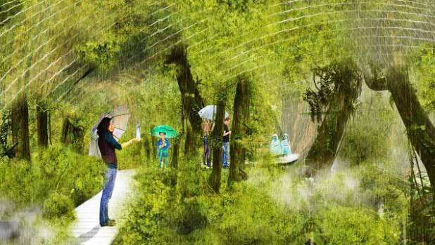 An artist's impression of the Rainbow Room in the Eden project proposed for the red-zoned Avon River corridor.