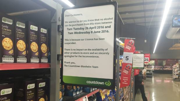 Countdown Blenheim has blocked off its liquor department as its six-week suspension starts this week.