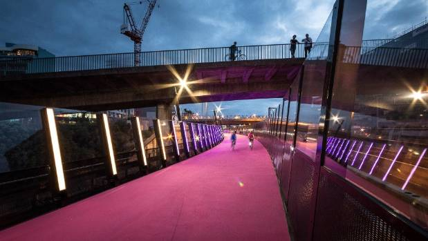 The #LightPathAKL cycle way in central Auckland, by Monk McKenzie with LandLAB won a Planning and Urban Design Award.