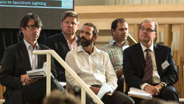 Earthquake claims were discussed at a public meeting at the Transitional Cathedral. Pictured from left are: lawyer ...