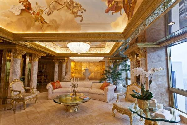 Special features include ceiling frescoes of Greek myths and gold crown mouldings.