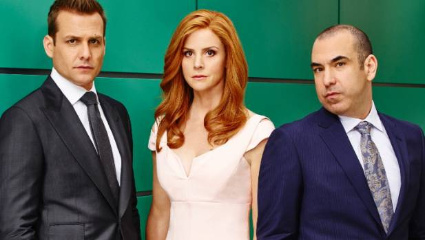 Gabriel Macht with co-stars Sarah Rafferty and Rick Hoffman will be back for season 7 of Suits.