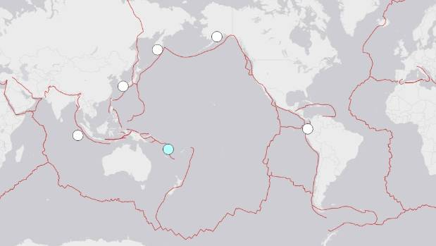 A map from USGS shows the locations of 2016's five quakes measuring magnitude 7 or more. Friday's quake in Vanuatu is ...