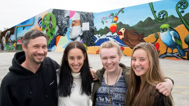 Jonny 4Higher artist Jonny Wartmann, left, with Horowhenua College students Monique Lang, Hannah Wedlock and Alexa ...