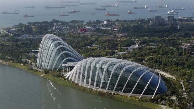 The Flower Dome and Cloud Forest conservatories at the Gardens by the Bay.