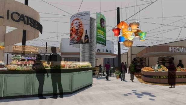 An artist's impressions of the redeveloped Bush Inn shopping centre in Christchurch.