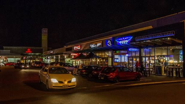 Christchurch Bush Inn food outlets at night.