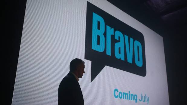 Mark Weldon, pictured in silhouette, quit immediately after the launch event for the new Bravo channel.