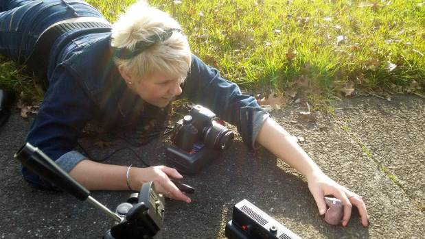 Zoe-Rose Herbert shooting a scene in her debut film, The Lonely Animal Friendship Society.