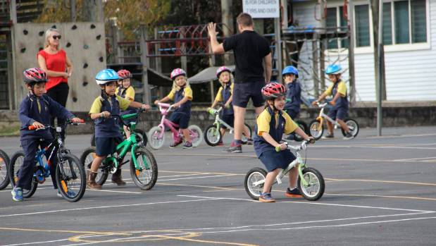 Beginner riders enjoy a biking session with Bikes in Schools at Takapuna Primary School.