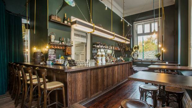 The OGB bar and cafe captures a casual speakeasy style.
