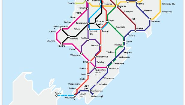 London underground style map of new zealand highways stuff andrew douglas clifford says hes always been into maps gumiabroncs Gallery