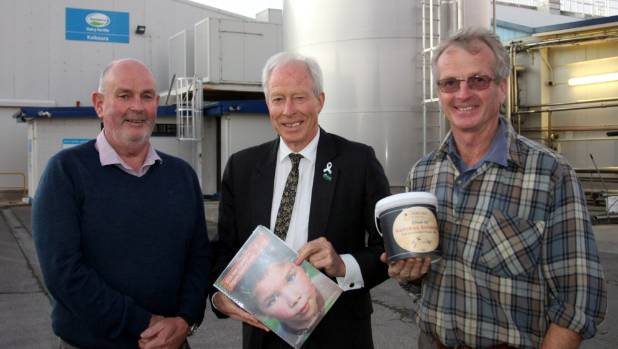 Organic dairy farmer Bryan Clearwater, right, tells Kaikoura Mayor Winston Gray, left, and Green MP Steffan Browning ...