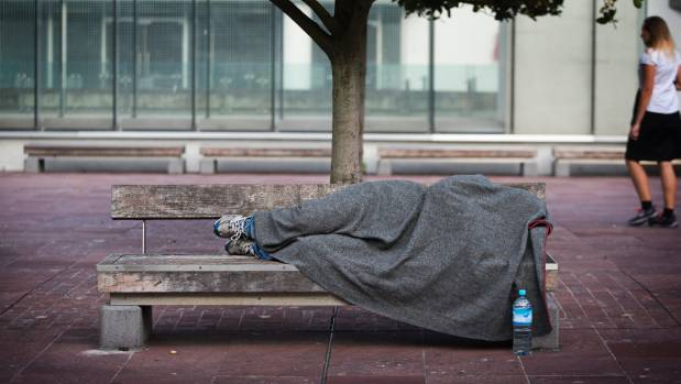 Homeless people in Auckland's CBD.