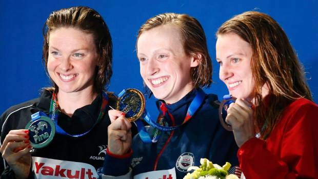 World championship silver medallist Lauren Boyle, left, flanks golden girl Katie Ledecky, with bronze medallist Jaz ...