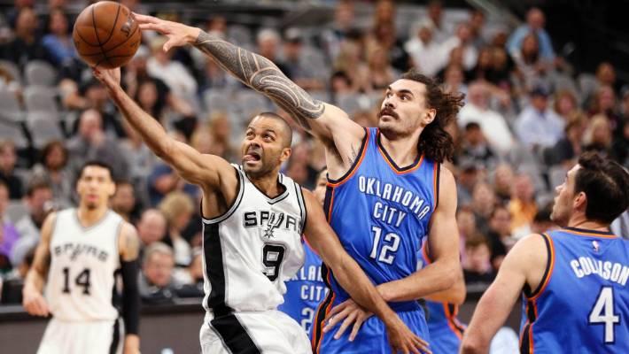94b581cc8a98 Steven Adams reaches for the block on San Antonio Spurs guard Tony Parker.