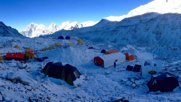The snow-covered Base Camp at Everest.