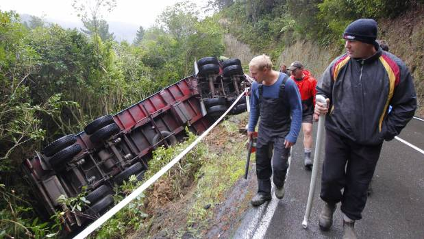 The truck that rolled on Blue Mountain Rd, Upper Hutt.