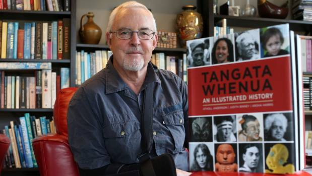 Atholl Anderson at home in Blenheim with his prize-winning book, Tangata Whenua: An Illustrated History.