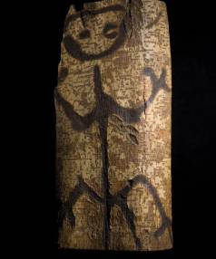 This image carved into tree bark on the Chatham Islands by Moriori was bought by the Canterbury Museum in 1901. The ...
