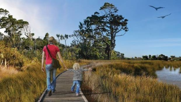 An artist's impression of Bexley Wetlands, as part of the masterplan for the Avon-Otakaro Forest Park.