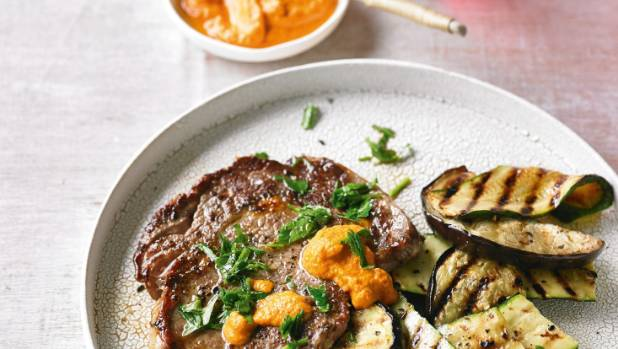 Recipe: Beef with romesco sauce, chargrilled zucchini and ...