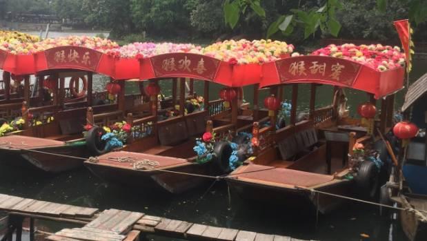 Boats on Liwan Lake.