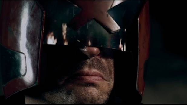 Karl Urban as Judge Dredd: He does look good with only half his face showing.