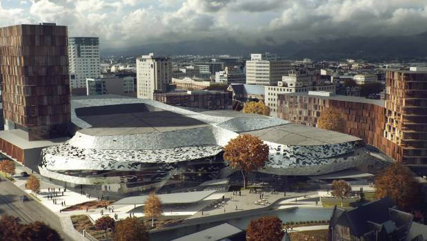 An early concept of a new Christchurch Convention Centre built as a private-public partnership.