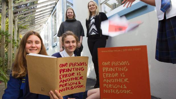 Misprint founders Kareena Harris and Jenny Buckler at back, with Wellington East students Isla Hutching, left, and ...