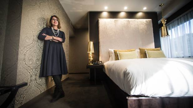 Accor Hotels spokeswoman Sonya Rossiter pictured in 2016 in one of the rooms in the $51 million five-star Sofitel Wellington.