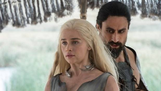 Kiwi Joe Naufahu (right) as Khal Moro on Game of Thrones.