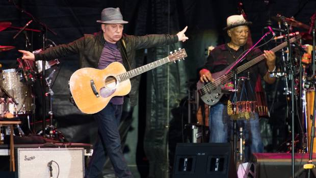 Paul Simon performs on stage at the Beale Street Music Festivain Memphis.