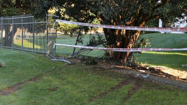The site of the fatal car crash on Kenepuru Drive, Porirua, after a police chase.