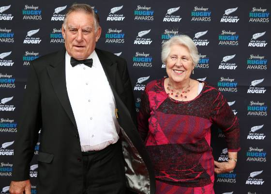 Meads and his wife Verna at the 2014 Steinlager Awards.
