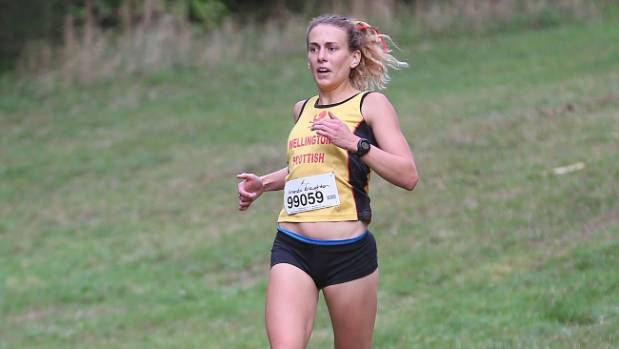 Amanda Broughton wins the senior women's race at the Vosseler Shield on Saturday.