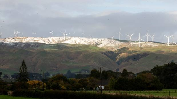 Turbines on a windfarm in the Tararua ranges. Trustpower plans to build a windfarm near Waverley in South Taranaki.